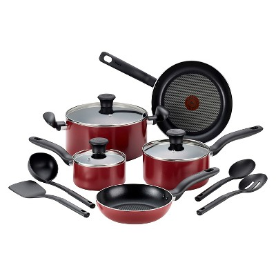 T-Fal 12pc Cookware Set Red