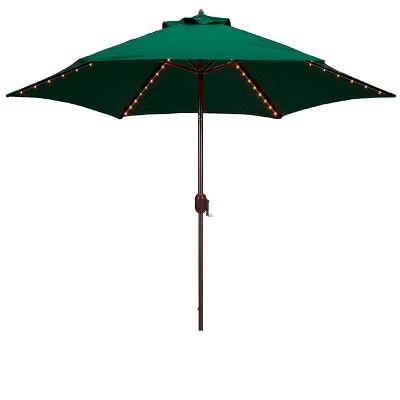 Attirant 9u0027 Round Lighted Patio Umbrella   Green