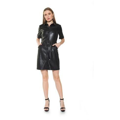 Alexia Admor Janine Faux Leather Short Slv Dress - image 1 of 2
