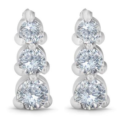 Pompeii3 1/2ct 3 Stone Round Graduated Diamond Earrings 14K White Gold