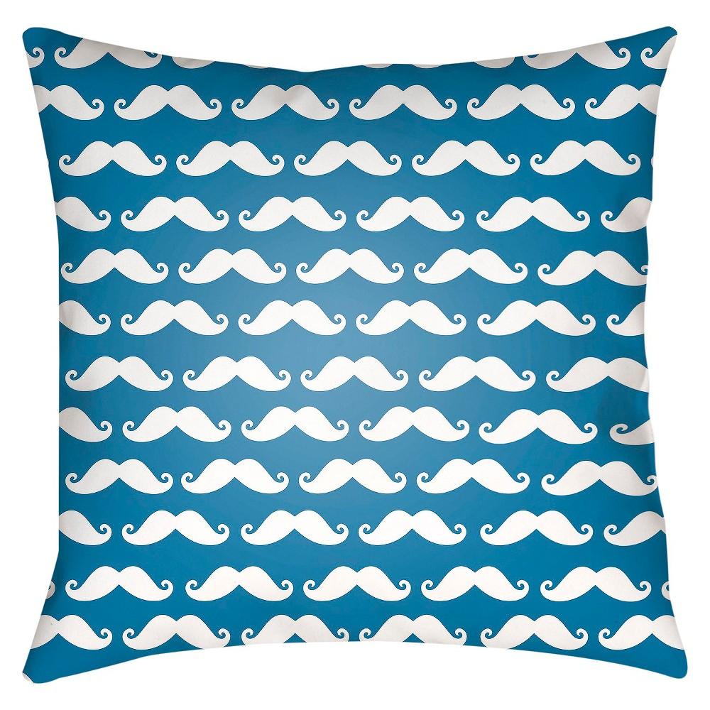 Blue Stache Print Throw Pillow 18