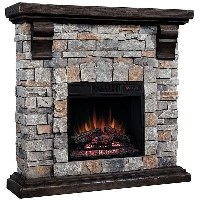 ClassicFlame Denali Stone Electric Fireplace Mantel Package in Brushed Dark Pine - 18WM10400-I601