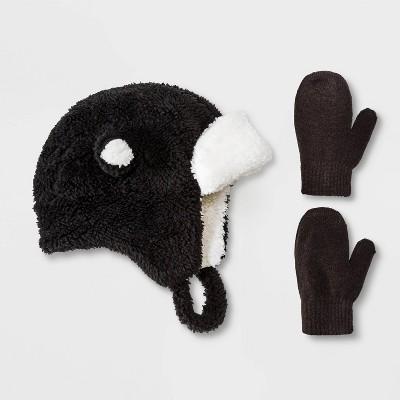 Baby Boys' Sherpa Ears Trapper & Magic Mittens Set - Cat & Jack™ Black 12-24M