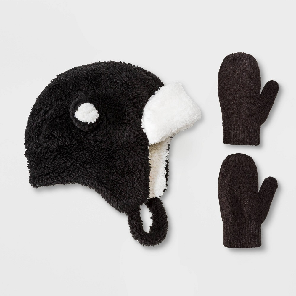Image of Baby Boys' Sherpa Ears Trapper & Magic Mittens Set - Cat & Jack Black 12-24M, Toddler Boy's, Size: 18-24 Months 12-18 Months