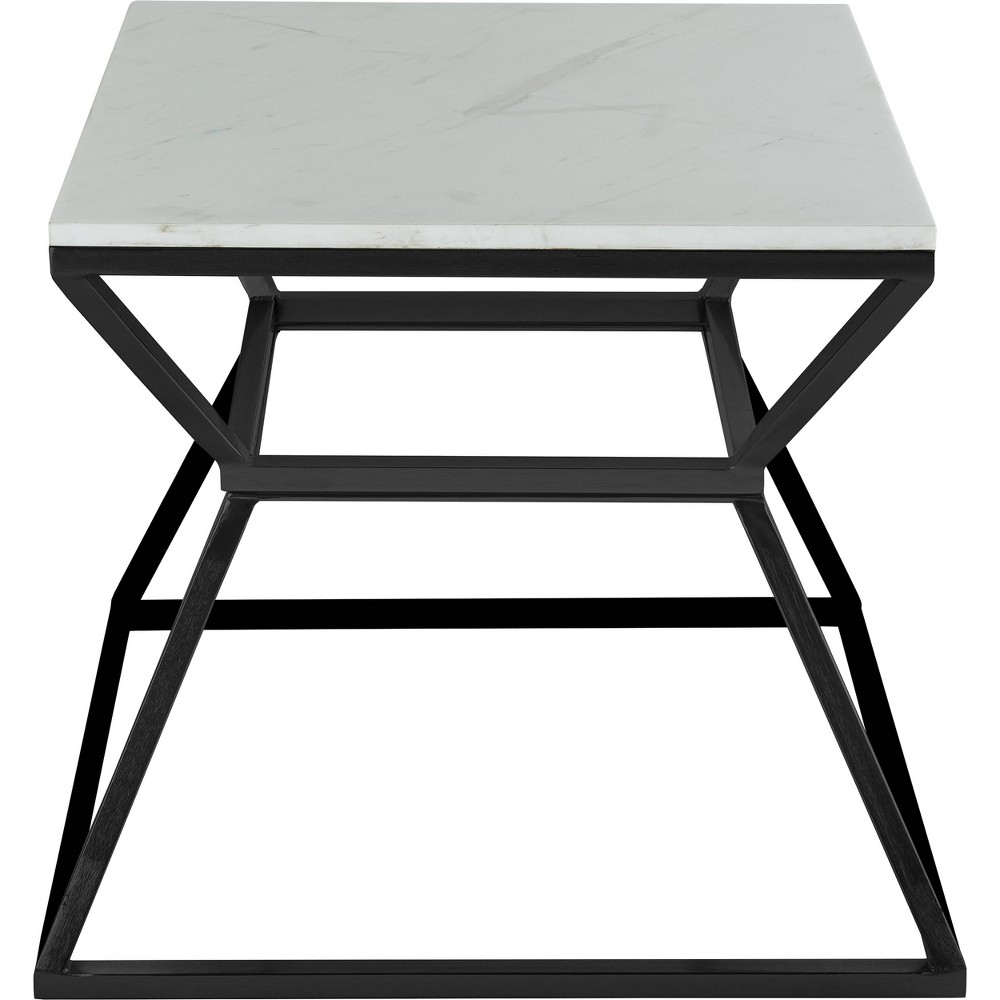 "Image of ""17"""" Audrey Marble Side Table High Black - Adore Décor"""