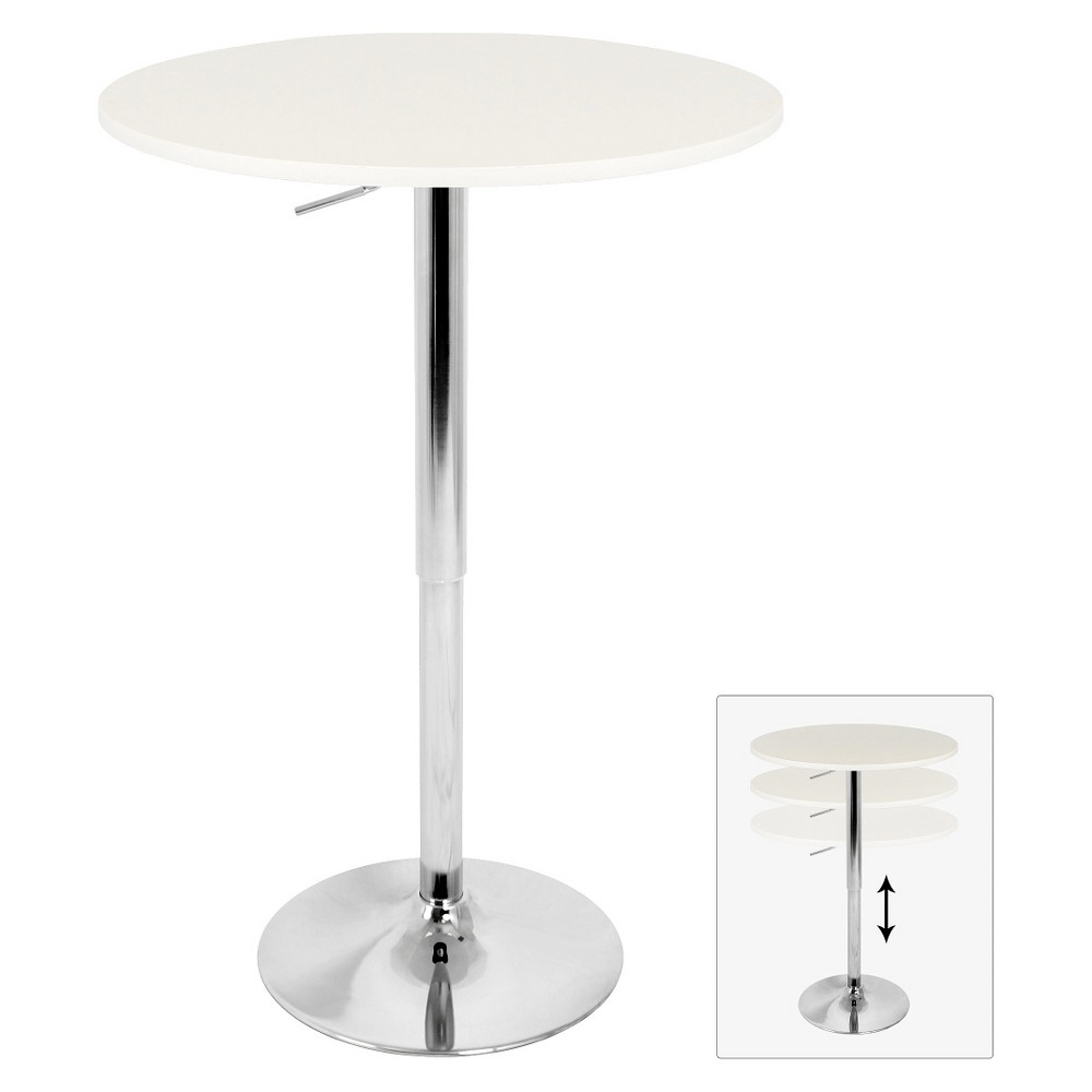 Adjustable Pub Table Metal/White - LumiSource