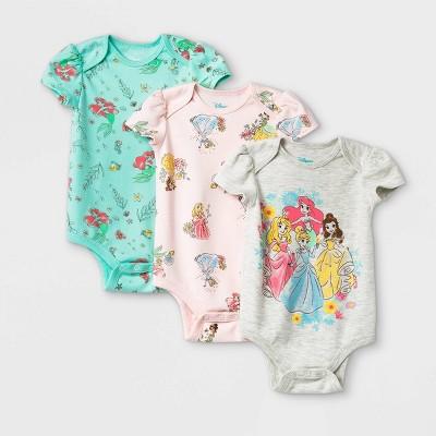 Baby Girls' 3pk Disney Princess Short Sleeve Bodysuit - 3-6M