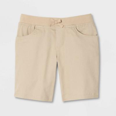 French Toast Girls' Uniform Pull-On Shorts with Knit Waistband - Khaki
