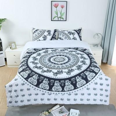 3 Pcs Polyester Full All-season Bohemian Bedding Sets White  - PiccoCasa
