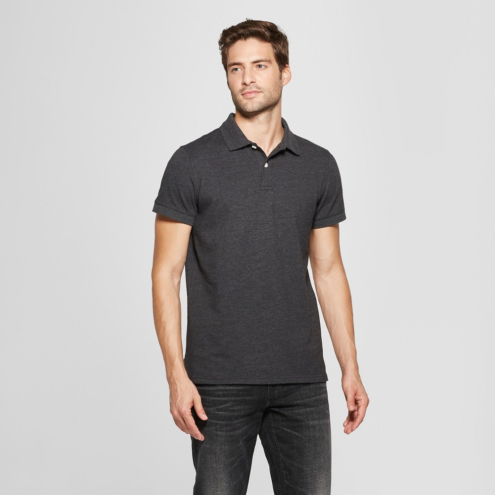 Men's Standard Fit Short Sleeve Loring Polo T-Shirt - Goodfellow & Co Railroad Gray L