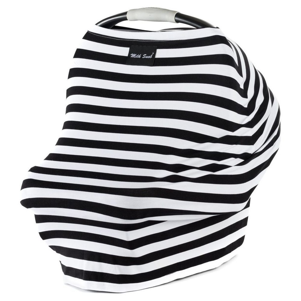 Image of Milk Snob Multifunctional Cover- Black & White Signature Stripe