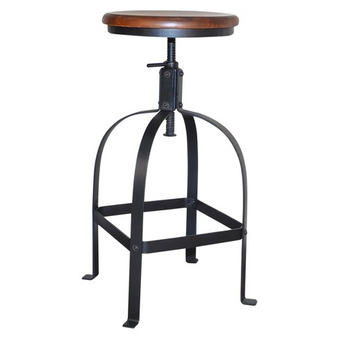 Lucia Adjustable Stool - Chestnut/Black - Carolina Chair and Table - image 1 of 3