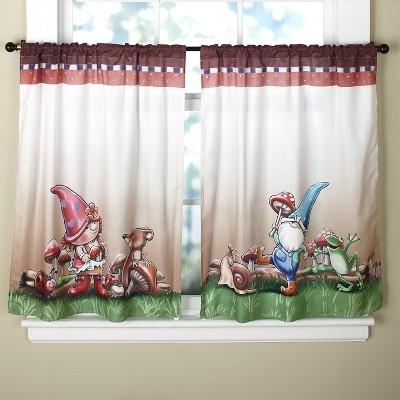 Lakeside Spring Season Gnome Theme Window Tier Treatments - 2 Pieces