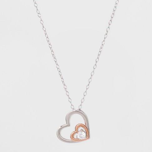 db9d00d47cf Sterling Silver Heart with Small Heart and Cubic Zirconia Necklace - Silver Rose  Gold
