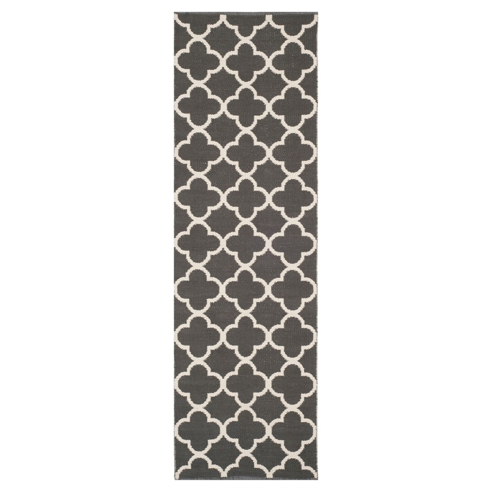 Dark Gray/Ivory Quatrefoil Design Woven Runner 2'3X7' - Safavieh