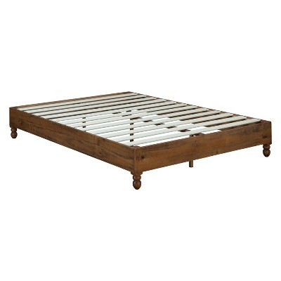 MUSEHOMEINC 12 Inch Solid Pine Wood Platform Bed Frame with Wooden Slats