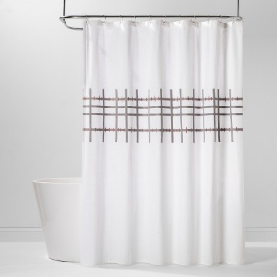Crewel Embroidered Grid Shower Curtain Drizzle Gray/Off-White - Project 62™