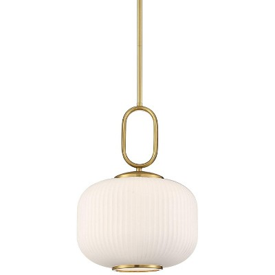 """Possini Euro Design Gold Mini Pendant Light 12"""" Wide Mid Century Modern Opal Frosted White Glass for Kitchen Island Dining Room"""