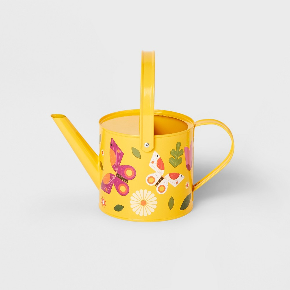 Image of Butterfly Garden Watering Can Pink - Kid Made Modern, Yellow