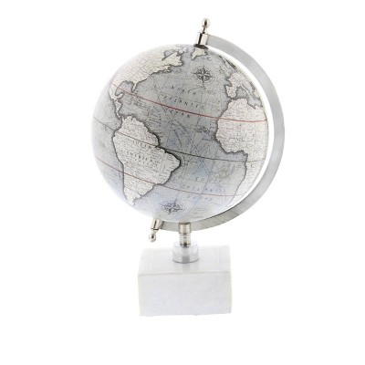 """13"""" x 9"""" Contemporary Decorative Globe with Iron and Ceramic Stand White - Olivia & May"""