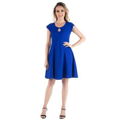 24seven Comfort Apparel Women's Scoop Neck A Line Dress