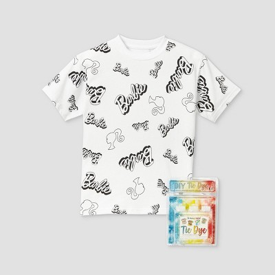 Kids' Barbie Short Sleeve Graphic T-Shirt with Tie-Dye Kit - White