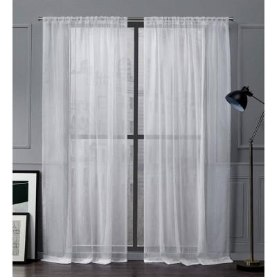 Wellington Rod Pocket Sheer Window Curtain Panels - Exclusive Home