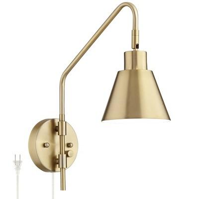 360 Lighting Marybel Antique Brass Downlight Plug-In Swing Arm Wall Lamp