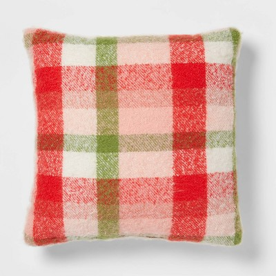 Plaid Boucle to Faux Rabbit Fur Reversible Throw Pillow Ivory - Threshold™