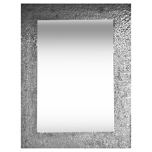 Silver Wall Mirrors Decorative.Rectangle Hammered Metal Decorative Wall Mirror Silver Ptm Images