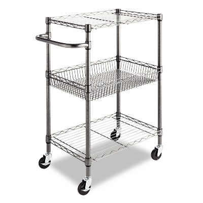 Alera Three-Tier Wire Rolling Cart, 24w x 16d x 39h, Black Anthracite SW342416BA