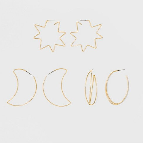 Three Pack Wire Hoop with Open Orbital, Star, and Moon Earring Set - Gold - image 1 of 1