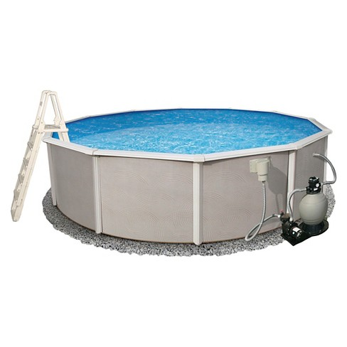 "Belize 24' Round 52"" Deep 6"" Top Rail Metal Wall Swimming Pool Package - image 1 of 4"