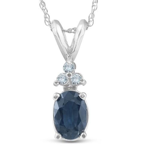 Pompeii3 1/2ct Blue Sapphire Oval Shape & Diamond Pendant 14K White Gold - image 1 of 4