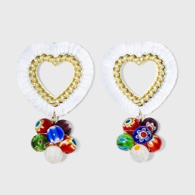 SUGARFIX by BaubleBar Fringe Heart Hoop Earrings with Beads