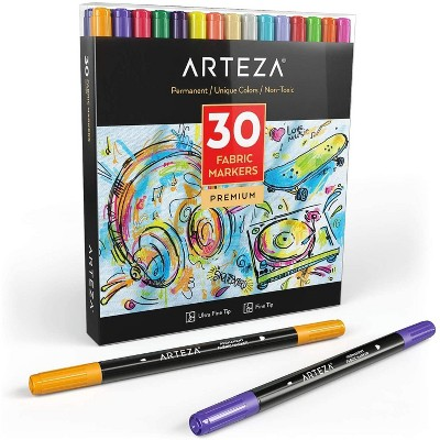 Arteza Dual-Tipped Fabric Markers Art Supply Set - 30 Colors