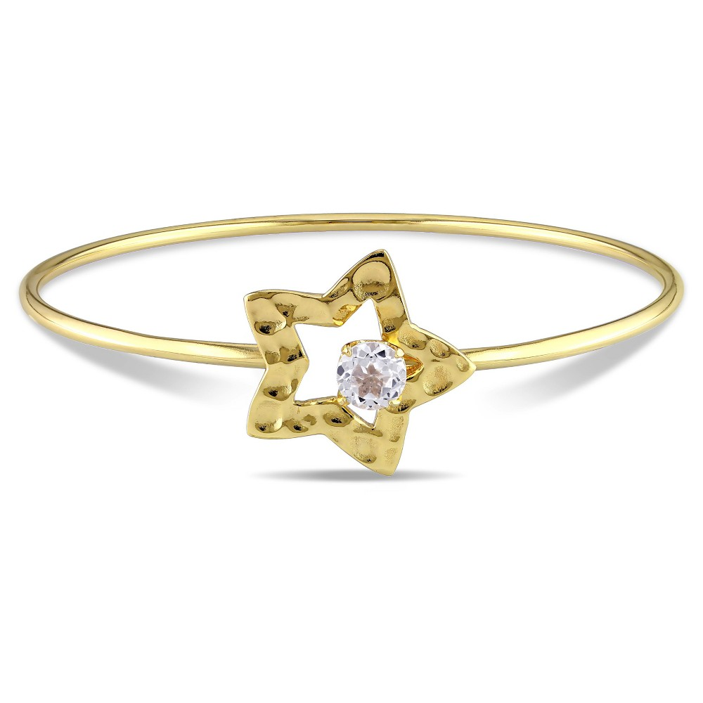 """Image of """"1 CT. T.W. White Topaz Star Bangle Bracelet in Yellow Plated Sterling Silver - 8"""""""" - White, Women's"""""""