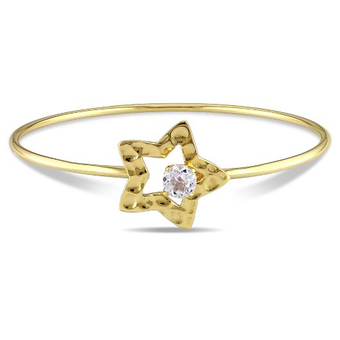 "1 CT. T.W. White Topaz Star Bangle Bracelet in Yellow Plated Sterling Silver - 8"" - White - image 1 of 1"