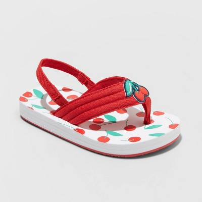 Toddler Girls' Pepin Cherry Print Slip-On Flip Flop Sandals - Cat & Jack™ Red