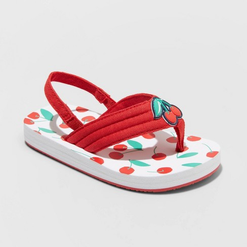 Toddler Girls' Pepin Cherry Print Slip-On Flip Flop Sandals - Cat & Jack™ Red - image 1 of 3