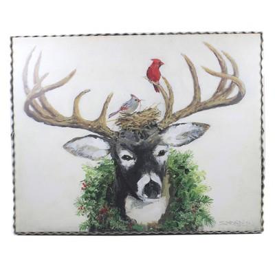 """Home Decor 11.0"""" Gallary Deer & Nest Christmas Art  -  Wall Sign Panels"""