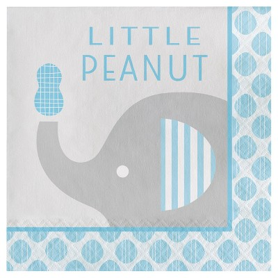 16ct Little Peanut Boy Elephant Napkins, Blue