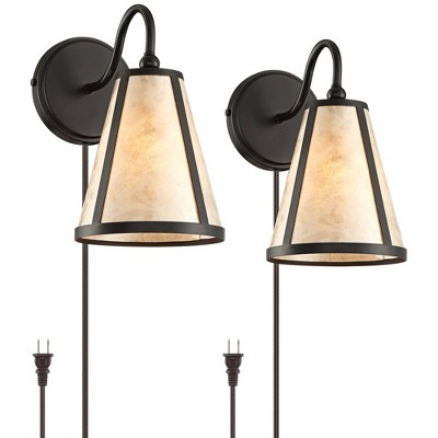 Franklin Iron Works Solano Mica Shade Plug-In Wall Lamps Set of 2