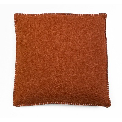 Set of 2 Chunky Oversize Square Throw Pillow Orange - Décor Therapy