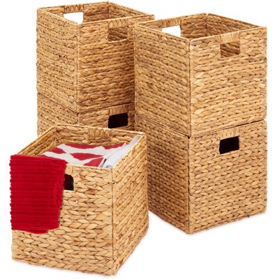Best Choice Products Set of 5 Multipurpose Collapsible BasketsHyacinth Storage Organizer w/ Insert Handles