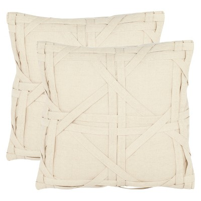 Beige Lattice Throw Pillow Ivory 2pk - Safavieh