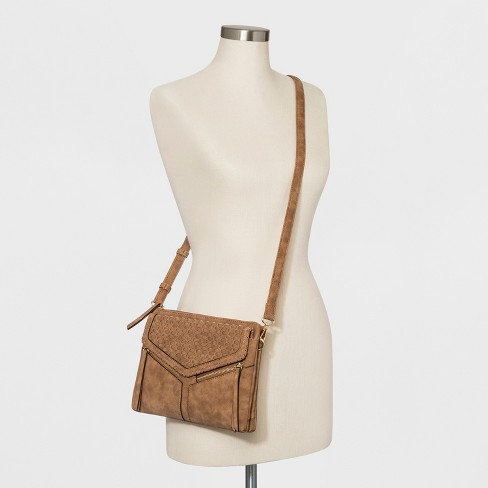 e99b1a561c58 VR NYC Woven Flap Leanna Triple Crossbody Bag - Cognac   Target