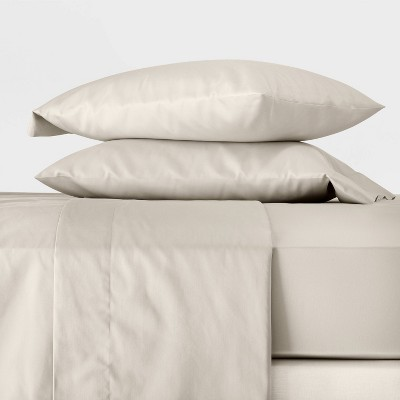 Queen 300 Thread Count Temperature Regulating Solid Sheet Set Natural - Casaluna™