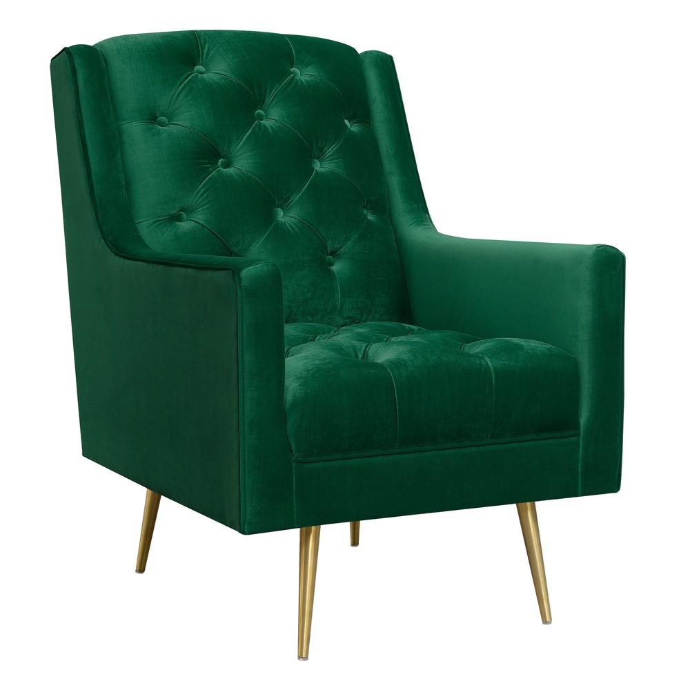 Reese Accent Chair With Gold Legs Emerald (Green) - Picket House Furnishings The Picket House Furnishings Reese Button Tufted Chair with Gold Legs is the epitome of modern glam design! This chair features a super luxurious velvet-like fabric, that feels good to the touch. Button tufting on the back and seat bring the glam, while the gold metal tapered legs bring the modern design. Color: Emerald. Gender: Unisex. Pattern: Solid.