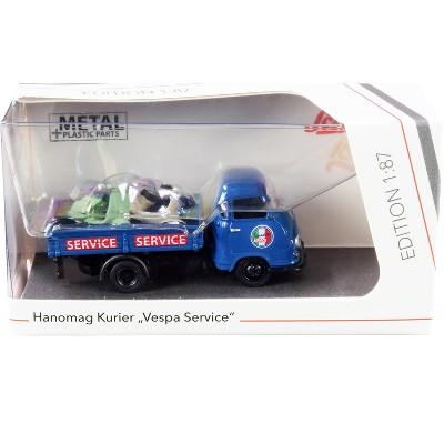 "Hanomag Kurier Transporter ""Vespa Service"" Blue with 2 Vespas (Green and Cream) 1/87 (HO) Diecast Models by Schuco"